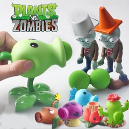Wholesale Zombie Soft Toys - 2018 Can launch BB guns 6 kinds of popular style game PVZ plant vs zombie soft action model toys plants and zombies boys baby toys gift