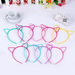 Wholesale White Plastic Hoops - Cat Ears Head Bands Kids Fashion For Women Girls Hairband Cute Headband party Photo Prop Animal Hair Hoop Accessories