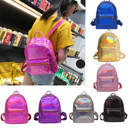 Argentina 2018 nuevo bebé niños holograma mochila bolsas de hombro bolso de escuela de viaje PU bolso mochila 7 color Suministro