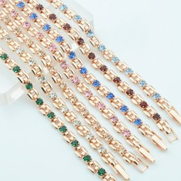 bracelet square shape Promo Codes - 9 Color Women Girls Pink Green White Red Blue Cubic Zircon Stone Bracelets Wrist Square Shaped Bracelets