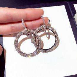 Pendientes de aro grandes de moda online-Pendientes grandes llenos de cristal Nueva Moda de acero inoxidable 18K Chapado en oro real Joyería de moda Ronda Gran tamaño 925 Pendientes de aro de plata