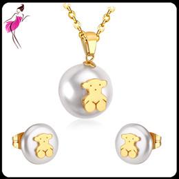 Wholesale Indian Bears - Custom Pearl Stud Earrings Bridal Wedding Gold Bear Pendant Fresh Water Natural Pearl Nekclace Sets Imitation Jewelry for Elegant Women