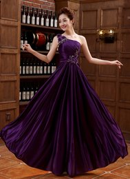 Wholesale Quinceanera Mothers Dress - Spring and summer new purple single shoulder evening dress wedding performance host mother dress Hand Fold and Embroidery