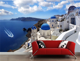 Wholesale Contemporary Country Style - Large mural wallpaper wallpaper sitting room sofa bedroom TV setting wall is contemporary and contracted Greek Aegean sea