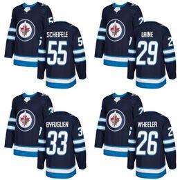 Wholesale Black 26 - 29 Patrik Laine 2018 Season Newest Winnipeg Jets 33 Dustin Byfuglien 55 Mark Scheifele 26 Blake Wheeler blank navy blue Hockey Jerseys