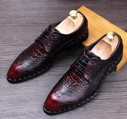 Wholesale Office Wear Lace Dresses - NewMen's luxury brand l Crocodile wear casual leather shoes men real skin English sharp increase wedding shoes young hairdresser shoes nx21