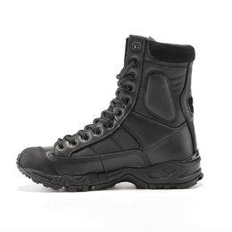 Cargadores militares del invierno de los hombres online-Botas del ejército militar de los hombres de cuero negro zapatos de trabajo de combate del desierto de invierno para hombre del tobillo botín táctico hombre más tamaño