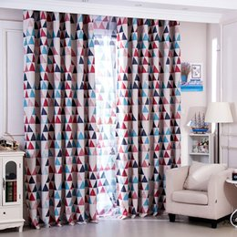 Wholesale Mediterranean Style Bedroom - Mediterranean Rustic Style Curtain Cloth Full Light Shading Printing Triangle Window Curtains Washable Soft Home Decor Supplies 16 5yf B