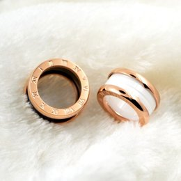 Wholesale Ceramics Rings Rose - whole salesilver & gold & rose gold color 316L Stainless steel Bulgaria rings Black white ceramics Luxury brand jewelry for men women