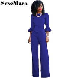 Wholesale High Waist Overalls - Flare sleeve ruffle high waist jumpsuits for women 2017 autumn winter overalls solid color office lady wide leg rompers D31-AE96