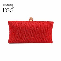 Wholesale Gold Bridal Clutch - Wholesale-Dazzling Red Ruby Crystal Women Evening Clutch Box Hand Bag Metal Bridal Rhinestones Shoulder Handbag Wedding Clutches Purse