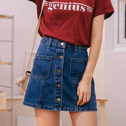 Wholesale women mini jeans skirt - Women Summer Denim Skirts High Waist Vintage College Style Package Hip Jeans Skirts Casual Pocket Button Skinny Mini Skirts RF1468