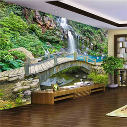 Wholesale Photo Print Paper Sizes - Custom Any Size 3D Mural Wallpaper Small Bridge Running Water Waterfall Nature Landscape Photo Background Wall Papers Home Decor