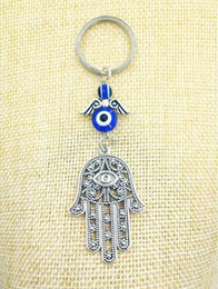 portachiavi di hamsa Sconti Fashion Jewellery Blue Evil Eye Lucky Fatima Hamsa Hand Turkish Evil Eye Charm Protection Hanger Crystals Car Feng Shui Keychain-13