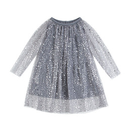 Wholesale Grey Foil - New Girl Dress Kids Clothing 2018 Spring Fashion Long Sleeve Bling Star Lace Princess Baby Dresses Partywear Stars Silver foil Grey A8628