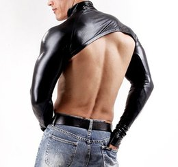 Lange t-shirts leder männer online-Herren Kunstleder volle Hülse DJ Phantasie Kostüm Stripper Sex Spielzeug SM Tops Sleevelet Tees Langarm Punk