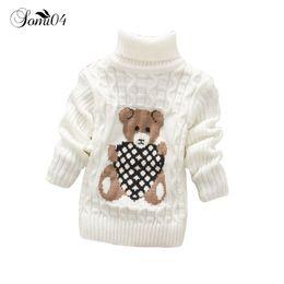 Wholesale Toddler Girls Turtlenecks - Infant Toddler Boys Girls Knitted Sweater 2017 Winter Autumn Pullovers Cute Bear Turtleneck Warm Outerwear Kids Boy Sweaters