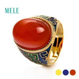 Roter ovaler achat online-Natürlicher roter Achat, Prehnit Silberring, oval 13mm * 18mm, spezieller und beliebter Ring, für OmaY1883003