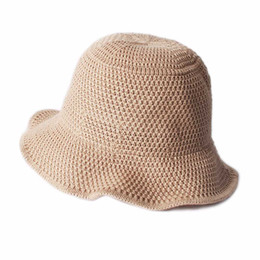 26594ea6f75 2018 New Women Summer Dome Sunshade Hat Japanese Korean Style Simple  Hollowing Out Knitted Fisherman Hat Solid Color Bucket