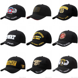 Wholesale Marines Hats - The US Army Caps Cotton Adjustable Sports Military Hats The 101th D82 Airborne Blackwater Security Guards Coast Guard Marine Corps Navy Seal