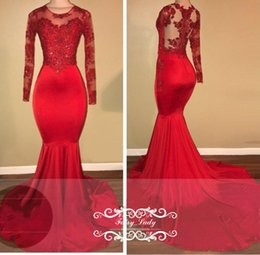 Wholesale Stretchy Lace Dress - Sexy Illusion Bodice Mermaid Prom Dresses Sheer Long Sleeves 2018 Red Stretchy Satin Beading Appliques Graduation Dress Formal Evening Gown