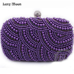 8f648d3688f1 New 2016 purple pearls evening bags blue black grey beaded clutch bag  wedding bridal clutches party dinner purse chains handbag