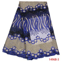 Wholesale Royal Blue Lace Trim - Guipure Trim Net Lace 2018 Embroidered Royal Blue Beaded Lace With Stones Applique Nigerian Lace Fabrics For Wedding QF1496B-1