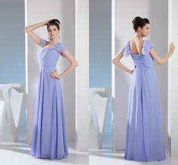 5b0ee9bd21e Lila Lange Brautjungfer Kleider mit Flügelärmeln Chiffon Sommer Trauzeugin Kleid  Formal Prom Billig günstig formale lila lange kleider für billig