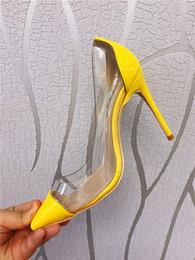 chaussures en cuir verni jaune Promotion Livraison gratuite vraie photo en cuir véritable cuir verni jaune Point Pvc orteil dame chaussures à talons hauts pompe taille 33-43 dames talons 10cm