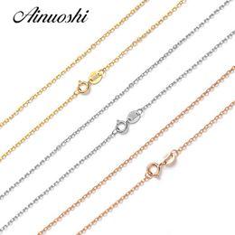 2019 solide roségoldkette AINUOSHI Luxus Reine 18 Karat Solide Rose Gold Gelb Gold Weiß O Form Frauen Halsketten Für Engagement Anhänger 45 cm 18 '' Kette günstig solide roségoldkette