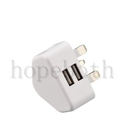 Wholesale tablet wall chargers - White Charger 2.1A UK Plug 2 USB Wall Adapter For I6 7 8 Plus Samsung S6 S7 Tablet Pc Universal Free Shipping