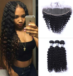 Wholesale full hair weave - Brazilian Deep Wave Human Hair Weaves with 13x4 Lace Frontal Ear to Ear Full Head Natural Color Can be Dyed Unprocessed Human Hair
