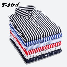 Wholesale bird shirt mens - T -Bird Shirt Men 2018 New Striped Long Sleeves Mens Dress Shirts Camisa Masculina Spring Summer Brand Casual Male Shirt Tops 5xl