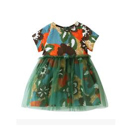 Niños de graffiti online-Vestido de niña 2018 Summer Girls Beach Vestidos florales Graffiti Print Beachwear Vestidos de niños para niñas Cute Toddler Girls Clothes 2-6Years
