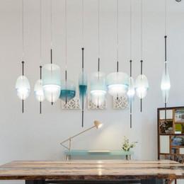 2019 handgefertigte holzlampen Mode blau glas pendelleuchten nordic moderne led pendelleuchten wohnzimmer restaurant nachttischlampen bars cafe dekorative hängelampen