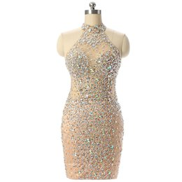 Wholesale Silver Design Sequin Cocktail Dress - 2018 New Design Champagne Short Prom Dresses Sexy Mermaid High Neck See Through Crystals Beads Evening Cocktail Dresses SP135