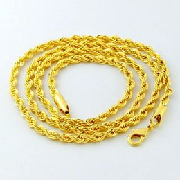 Wholesale 24k Gold Necklace Twist Chain - Luxury 24K Gold Twisted Chain Men Women Jewelry Iced out Jewelry 2016 Cuban Punk Style 3MM 4MM 5MM Full Size for Your Choice