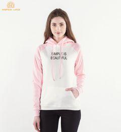 Wholesale Beautiful Hoodies - New Arrival Simple Is Beautiful Print Women Hoodies 2018 Spring Autumn Fleece Raglan Sweatshirts Women's Long Sleeve Hooded