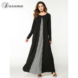 16175221d Casual Maxi Vestido Algodón Abaya Rayas Manga larga Batas Vestidos Patchwork  Medio Oriente Estilo suelto musulmán marroquí islámico Ropa