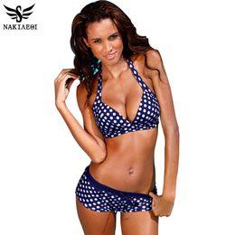 Wholesale Yellow Polka Dot Bikini - 2018 New Bikinis Women Swimsuit Retro Push Up Bikini Set Vintage Plus Size Swimwear Bathing Suit Swim Beach Wear 3XL