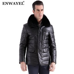 Wholesale Champagne Leather Jacket - Wholesale-ENWAYEL Luxury Down Jacket Men Leather Jacket Male Down Coat Jackets Top Quality Windproof Warm Fox fur collar 2017 Winte EW127