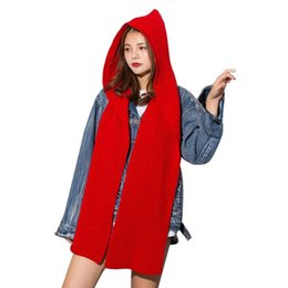 Wholesale Ladies Hooded Poncho - Luxury Brand Women Wool Hooded Poncho With Hat Winter Warm Scarves Lady Wraps Knitted Hood Scarf Solid 2017 pashmina 240 X 22 CM