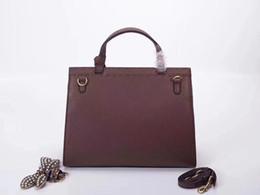 Bolsos de cuero de señora marrón oscuro online-2018 Famoso G Totes bolsos de las mujeres de lujo Bolsos de cuero genuino Dama de la manera Bolso Fábrica al por mayor Rojo marrón oscuro