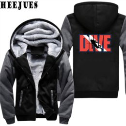 Wholesale Mens Zip Up Hoodie Black - Mens Hoodies Dive Hoodie Print Hoody Winter Casual Thicken Fleece Zip Up Diving Man Sweatshirt Coat Plus Size M-5XL