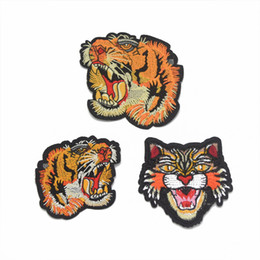 Wholesale Tiger Iron Patches - 15pcs Tiger Head Applique Embroidered Patches iron On Patch Lace Motifs Decorated