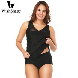 bb2e7a26179f1 Sexy Mesh Swimwear Women Tankini With Shorts Plus Size Swimsuits Push Up  Black Bathing Suit Two Piece Swimsuit Tankini Dress