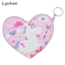 Wholesale Purple Heart Purse - Lychee Cute Animals Horse Unicorn Rainbow Love Heart Pattern Artificial Leather Wallet Mini Cartoon Coin Purse