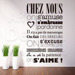 Wholesale removable wall words - Art Design Home Decoration Cheap Vinyl French Quote Rules Words Wall Sticker Removable House Decor Characters Decals In Rooms
