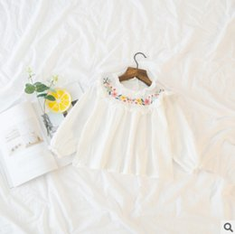 Wholesale Girls Ruffle Shirt Embroidery - Spring children blouses 2018 new girls colorful floral embroidery ruffle collar princess tops kids falbala long sleeve cotton shirts Y3126