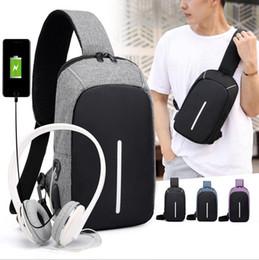 Wholesale mens travel black bag - 4colors Anti-theft Mens usb Chest Pack leisure Single Shoulder Business Strap outdoor Travel Back Sling Bag USB waist bag FFA448 50pcs